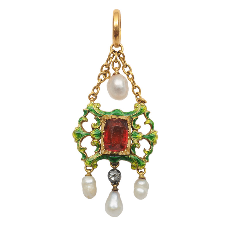 A pendant with citrine and enamel ornament