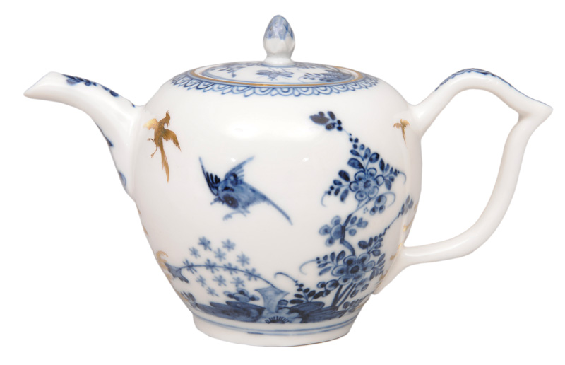 "A fine ""Rock and Bird"" tea pot with gilt chinoiseries"
