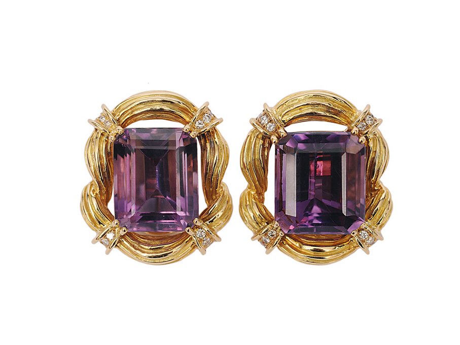 A pair of french amethyst diamond earclips by Chaumet