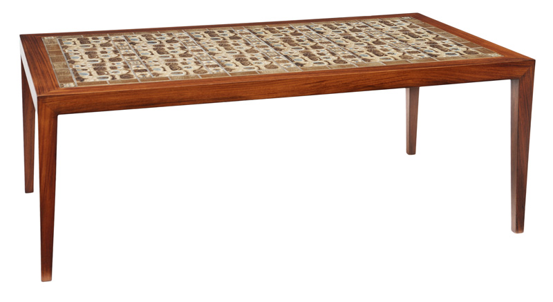 "A modern couch table with ""Baca"" tiles from Nils Thorsson"