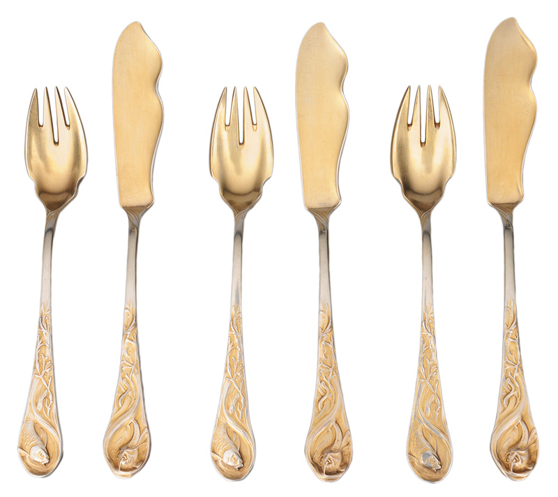 An Art Nouveau fish cutlery for 9 persons