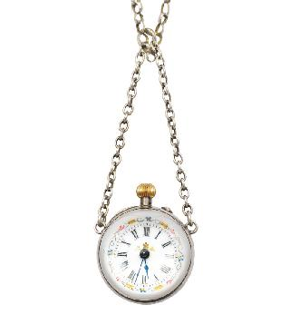 A round clock pendant with necklace