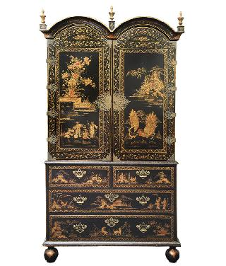 A hug Georgian cabinet with chinese scenes