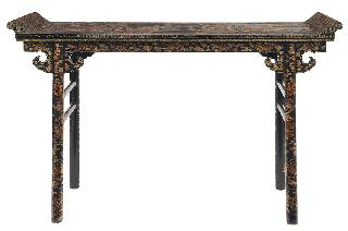 A splendid black-lacquer altar table with landscape painting and Fô-dogs
