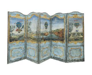 An extraordinary folding-screen with Montgolfier scenen