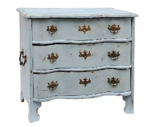 A coloured Barouque chest of drawers