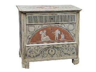 "A coloured chest of drawers with antique-like painting ""Cupid and Psyche"""