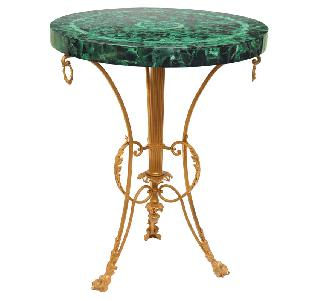 A Russian salon table with malachite tabletop