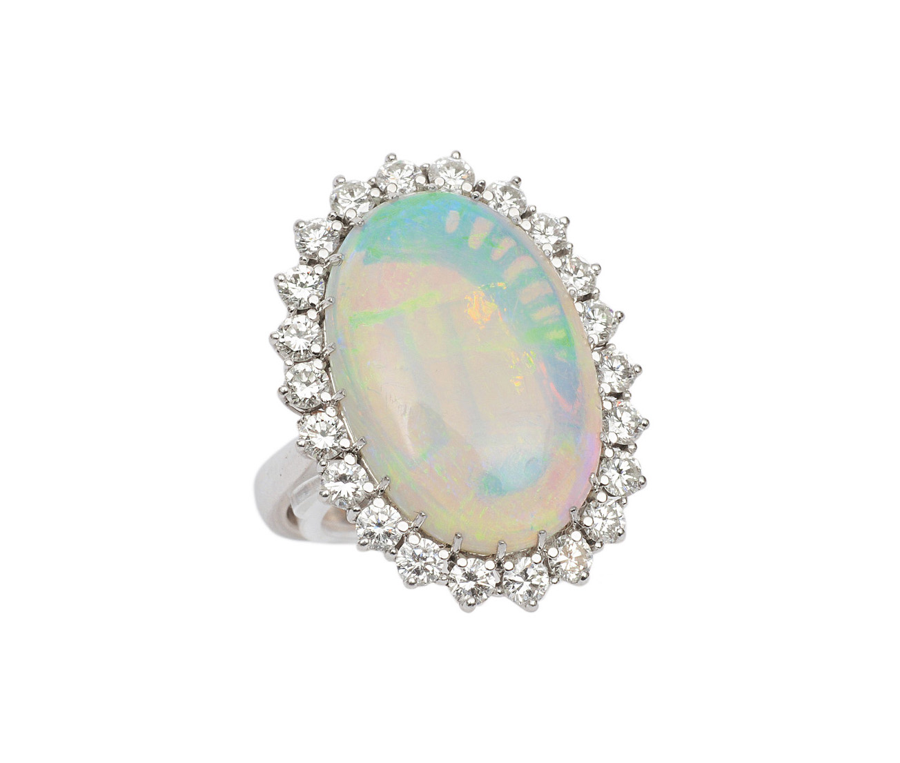 An opal diamond ring