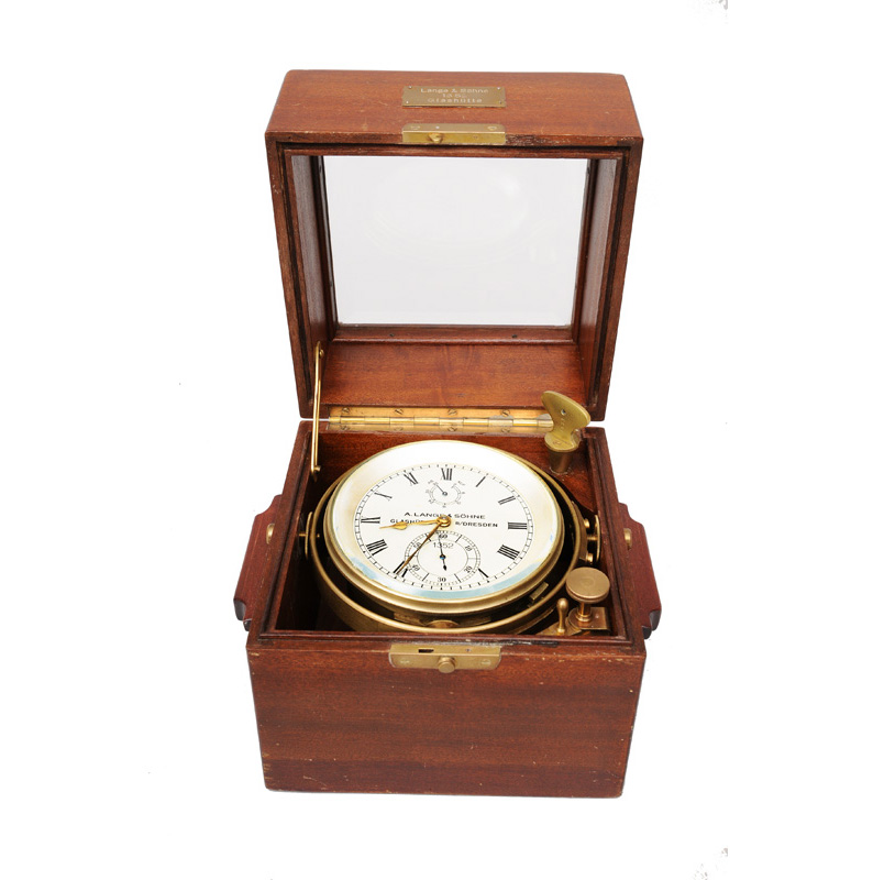 A marine chronometer with anchor movement