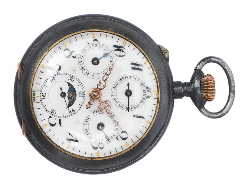 A pocket watch with calendar and moonphase by A. Robert
