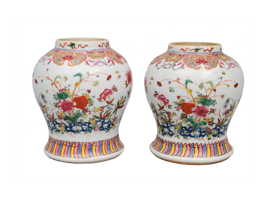 "A pair of fine ""Famille-Rose"" baluster vases with flowers and rock"