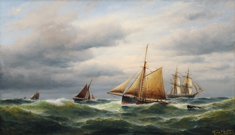 Cutter and Tall Ship on open Sea