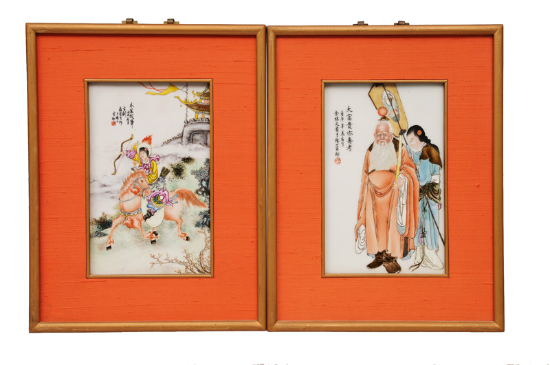 A pair of fine porcelain plaques with mythological scenes