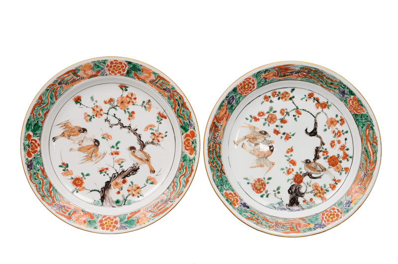 A pair of Famille-Verte plates with bird painting