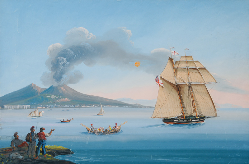 The Bay of Naples with Mount Vesuvius and an English Man-o-War