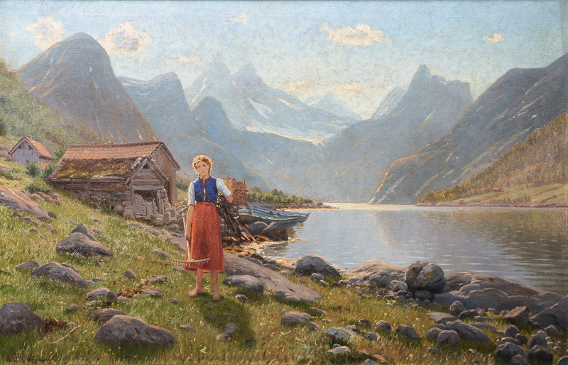 Girl by a Fjord