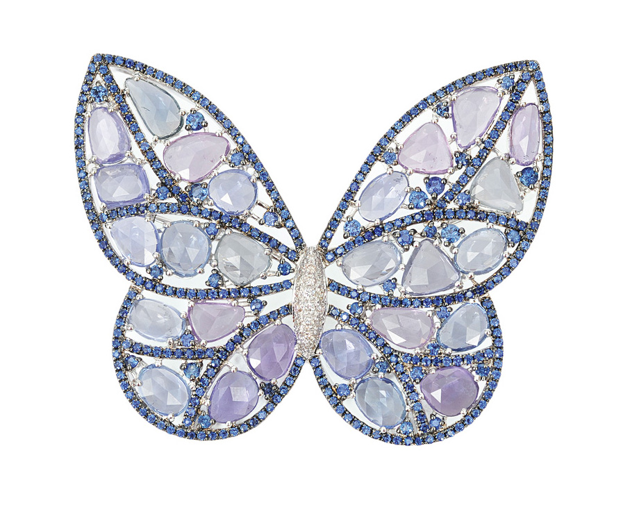 An extraordinary sapphire pendant in the shape of a butterfly