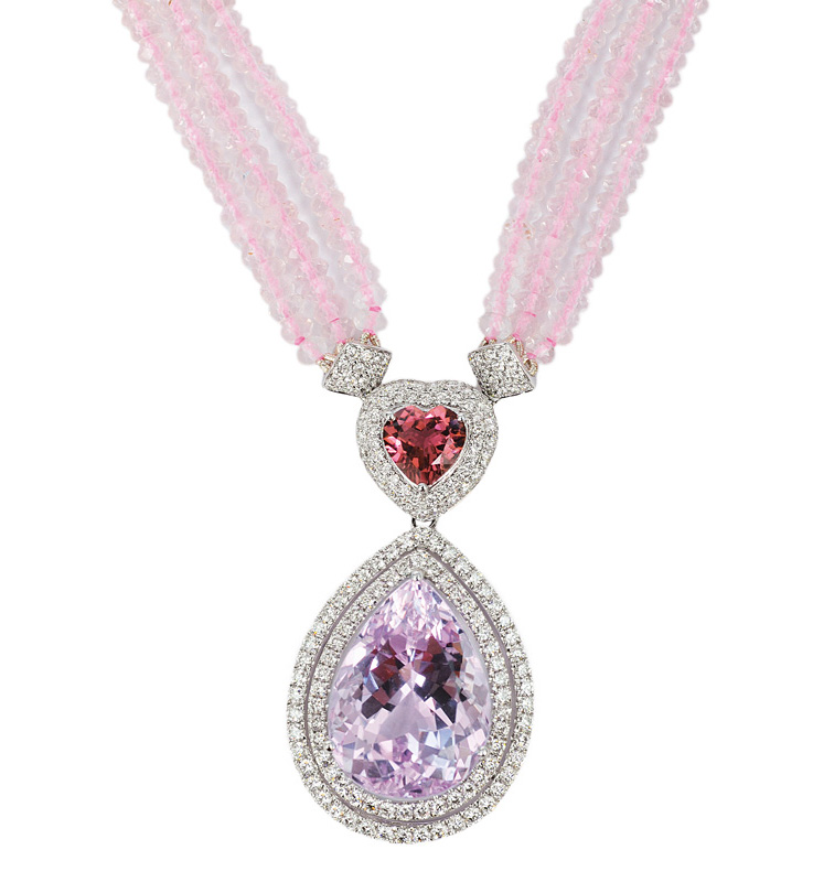 A large kunzit amethyst pendant with rosequartz necklace