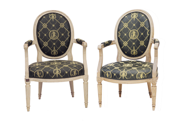 A pair of Louis-Seize armchairs
