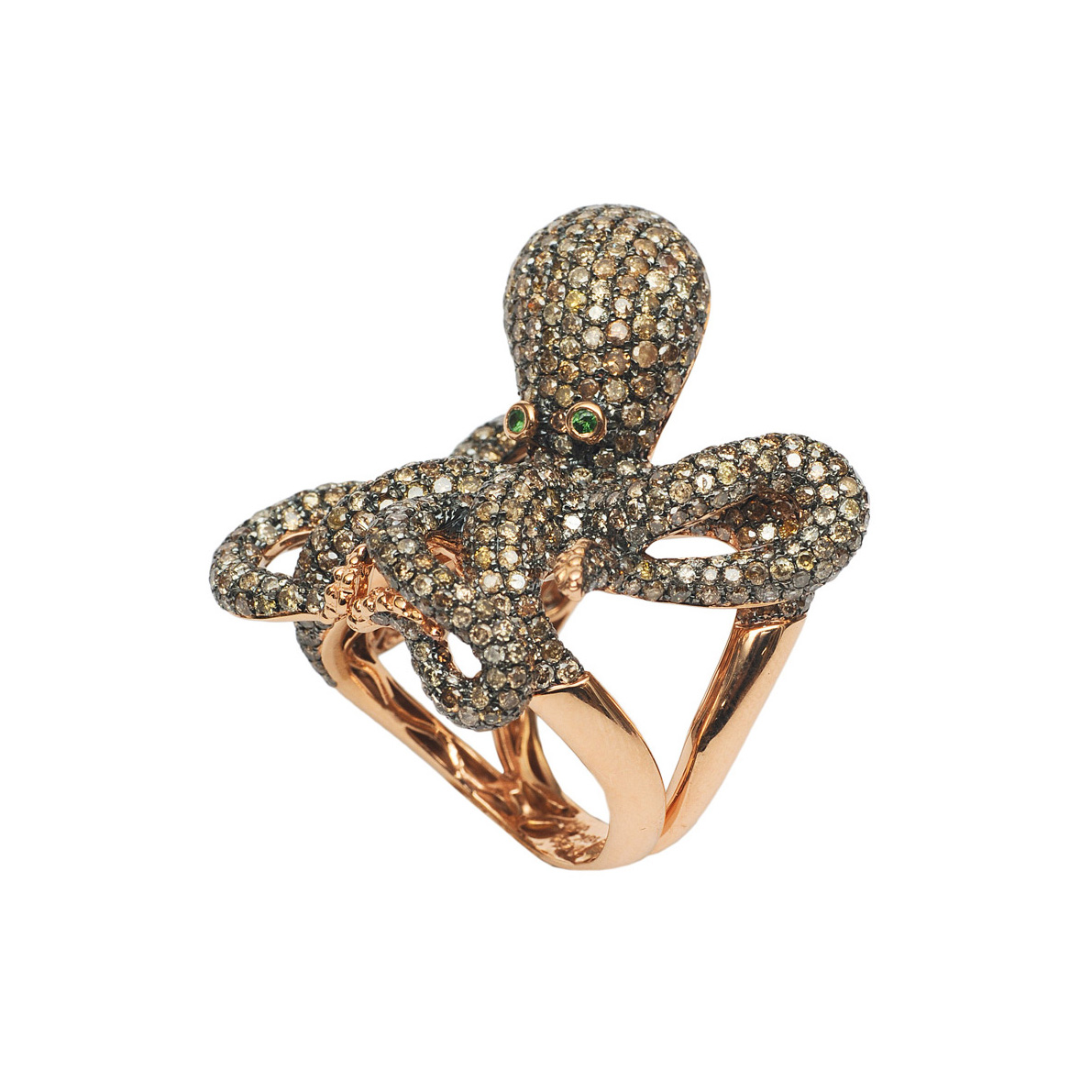 "A large Fancy-diamond ring ""Octopus"""