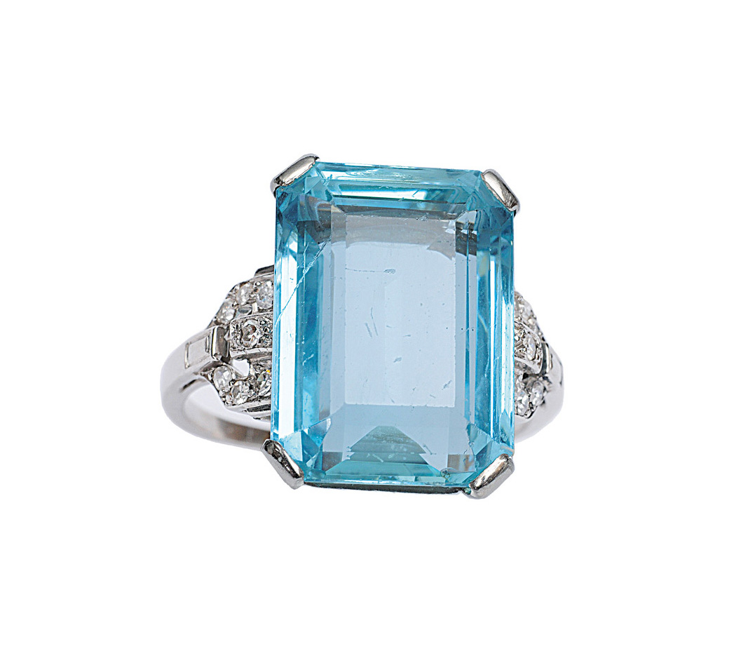 An Art-Déco aquamarine ring