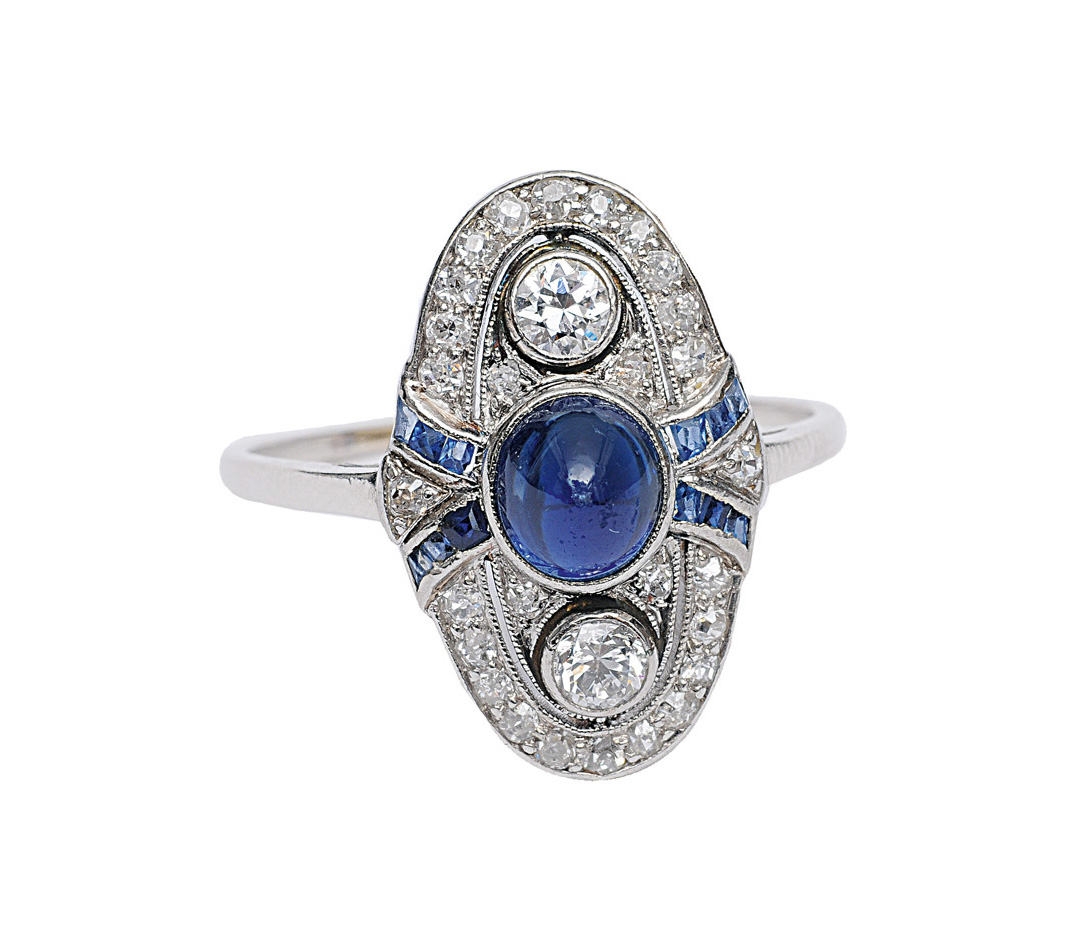 An Art-Déco sapphire ring with diamonds