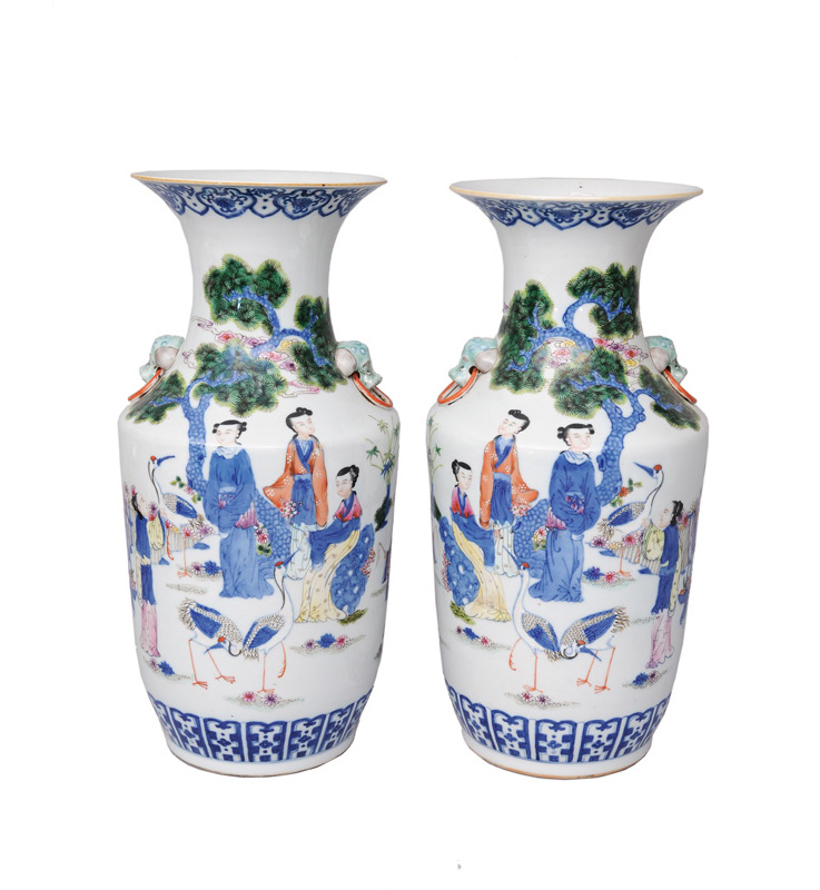 A pair of elegant baluster vases with ladies and cranes