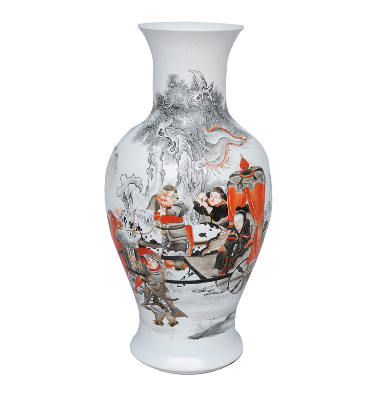 An elegant baluster vase with fine grisaille-painting