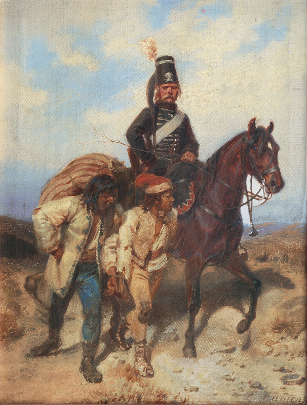 A Prussian Hussar with Captives