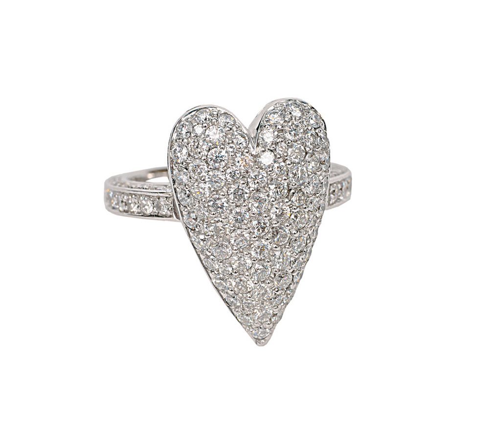 A heartshaped diamond ring