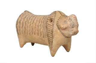 A pre-historic ceramic figure of an ox