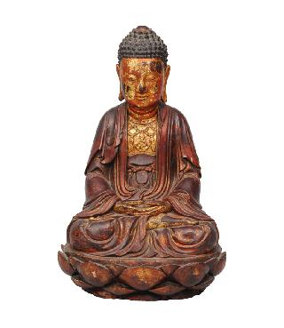 "A tall wooden and gilt lacquered buddha ""Shakyamuni"""