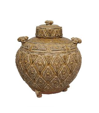 "A very rare and large cover jar with plastical ram""s head handles"