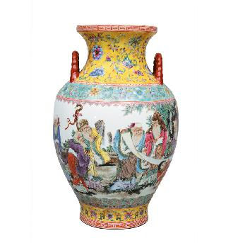 "A very fine baluster handle vase with scholar""s scene"