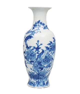 A fine baluster vase with birds and peonies