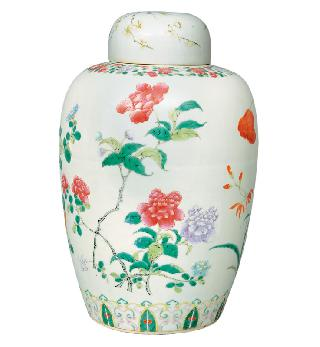 An ovoid vase with flower painting