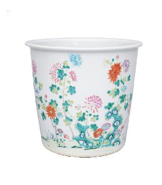 A large cachepot with bright flower painting