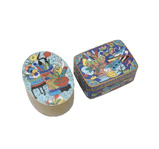 Two cloisonné boxes