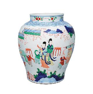 A tall Wucai baluster vase