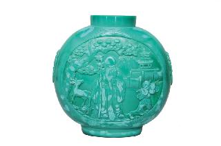 A large sea-green Peking-glass moonflask with Taoist immortals