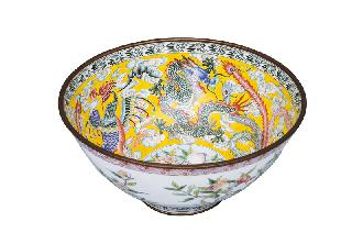 A magnificent Canton enamel bowl with dragon and phoenix