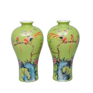 A pair of apple-green Meiping vases with bird painting