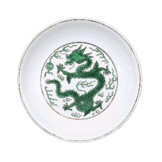 A plate with green dragon