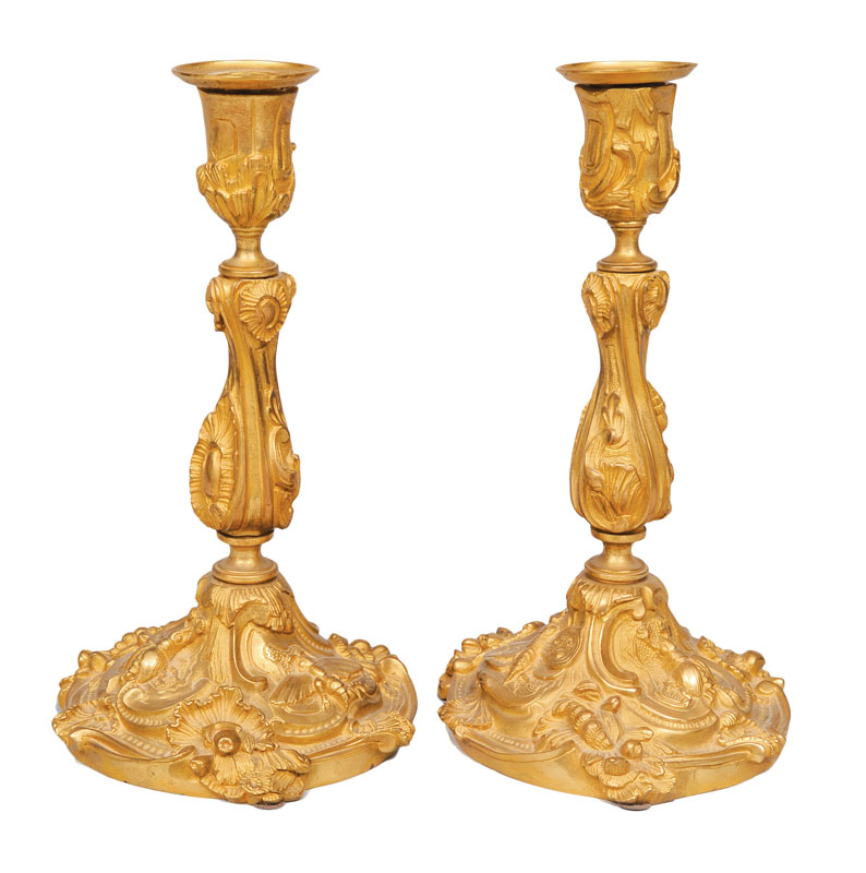 A pair of table candle holders