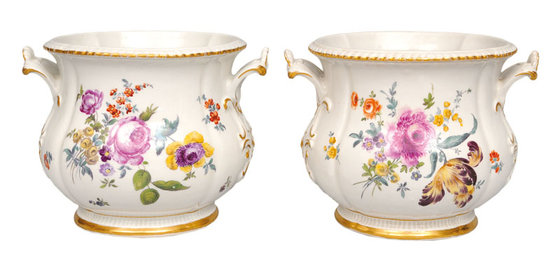 A pair of fine cachepots with flower painting