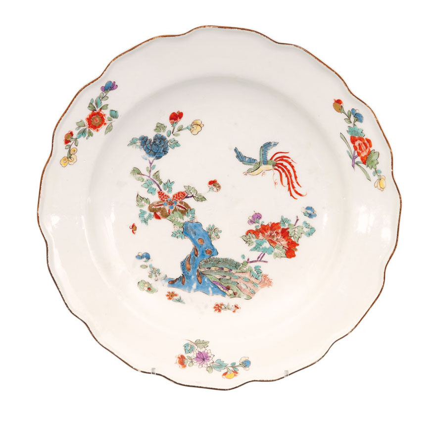 A Kakiemon plate with 'Bird and Rock'