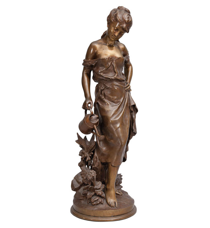 A hug Art Nouveau bronze figure 'Girl with watering can'
