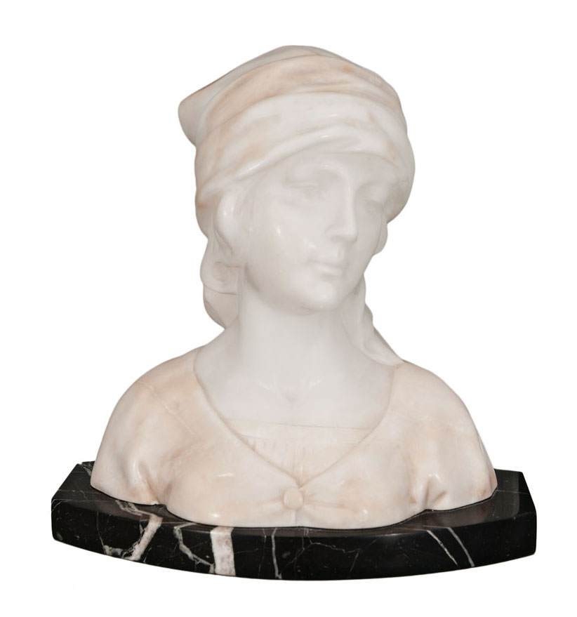An Art Nouveau alabaster bust 'Maid'