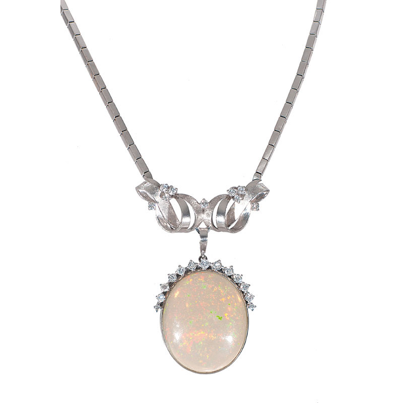 An opal diamond necklace